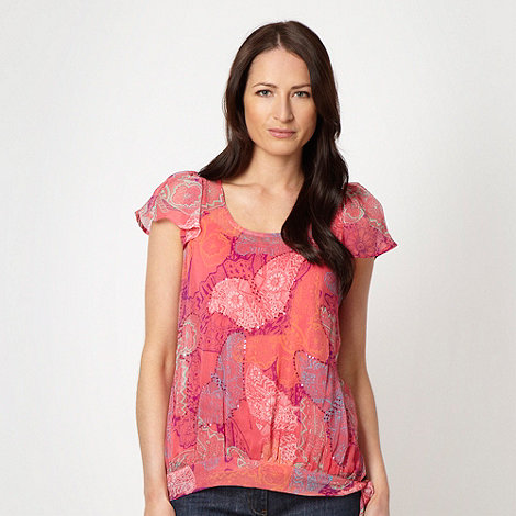The Collection - Bright pink layered butterfly top