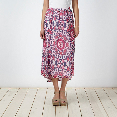 The Collection - Pink tribal printed dipped hem skirt