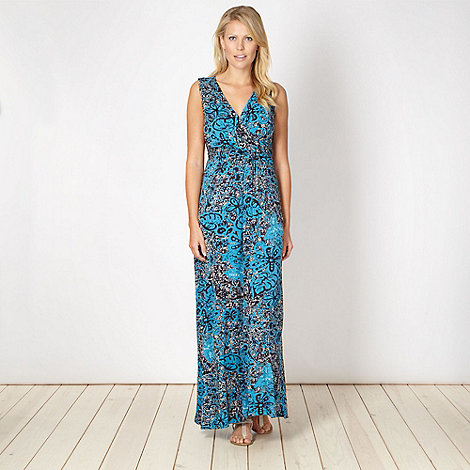 The Collection - Blue batik printed jersey maxi dress