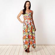 Orange floral hanky hem maxi dress