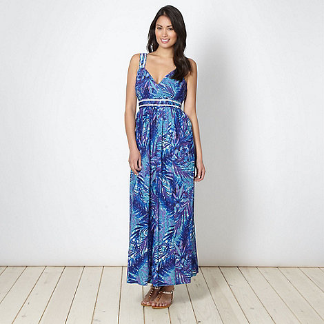 The Collection - Dark purple leaf patterned maxi dress