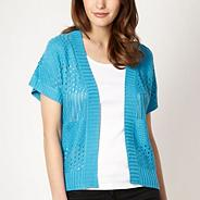 Turquoise pointelle short sleeve cardigan
