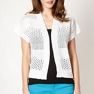 White short sleeved pointelle cardigan