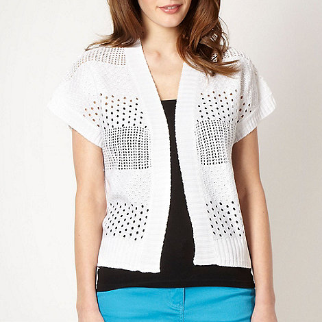 The Collection - White short sleeved pointelle cardigan