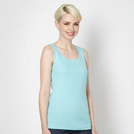 The Collection - Aqua plain scoop neck vest