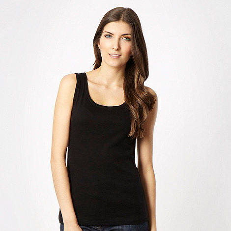 The Collection - Black plain scoop neck vest