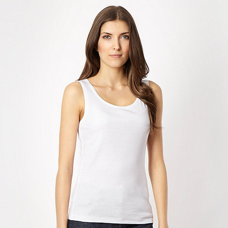 The Collection - White plain scoop neck vest