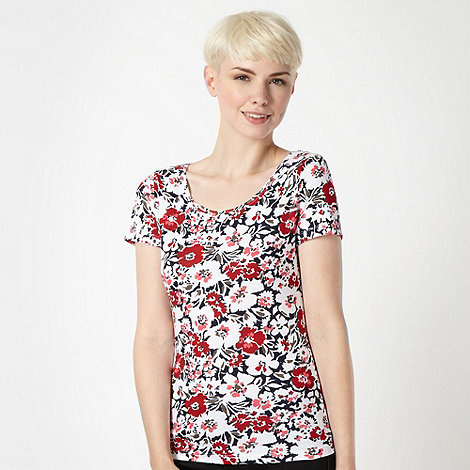 The Collection - Red shadow flower printed t-shirt