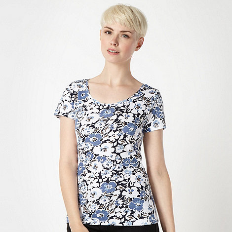 The Collection - Blue shadow flower printed t-shirt