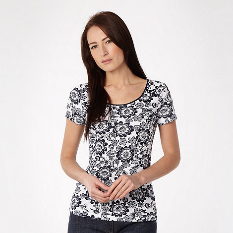 The Collection - Navy floral scoop neck t-shirt