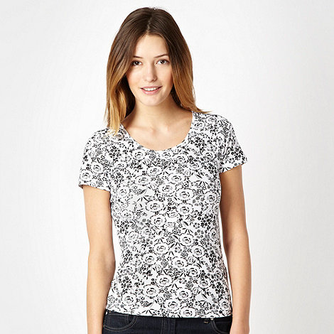 The Collection - Black floral scoop neck t-shirt