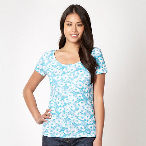 The Collection - Turquoise floral scoop neck t-shirt