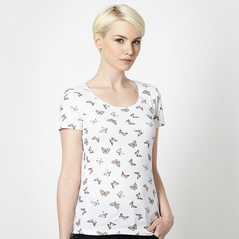 The Collection - Beige butterfly printed t-shirt
