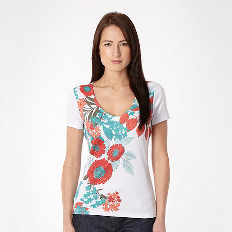 The Collection - Dark peach floral placement t-shirt