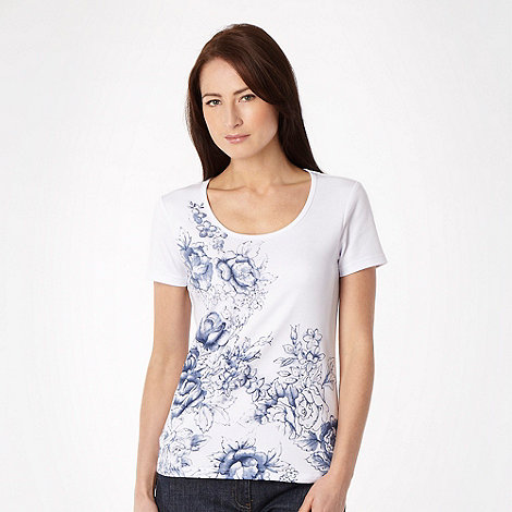 The Collection - White sketch rose studded t-shirt