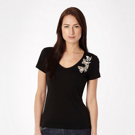 The Collection - Black butterfly neck t-shirt