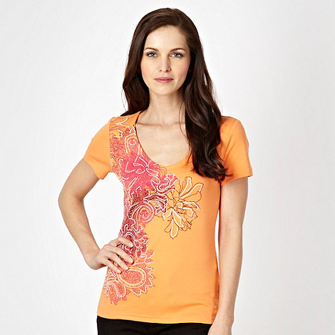 The Collection - Orange paisley floral printed t-shirt