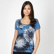 Dark blue studded flower print t-shirt