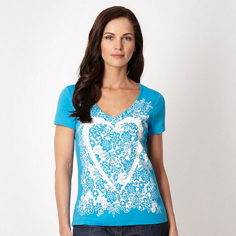 The Collection - Turquoise floral diamante heart top