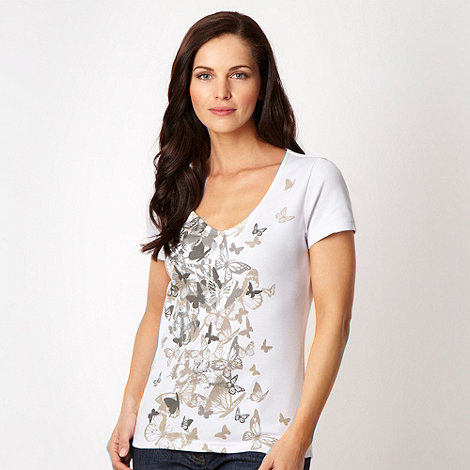 The Collection - White metallic butterfly printed top