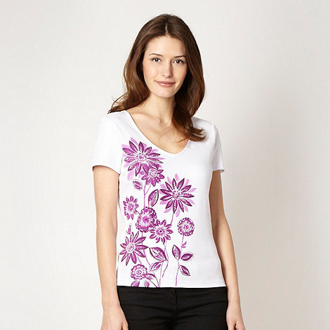 The Collection - Purple rhinestone studded pansy t-shirt