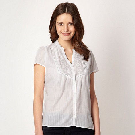 The Collection - White striped embroidered placket shirt