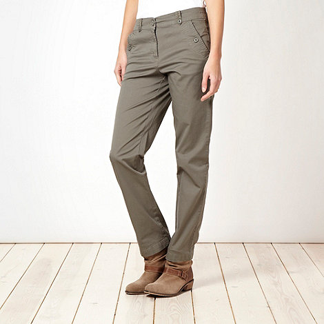 The Collection - Khaki tab waist chinos
