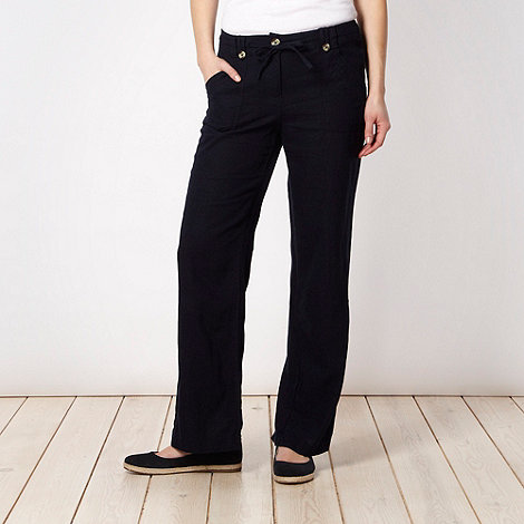 The Collection - Navy stitched pocket linen blend trousers