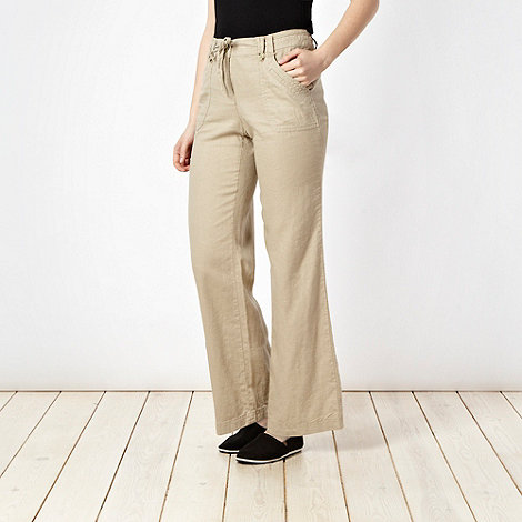 The Collection - Beige stitched pocket linen blend trousers
