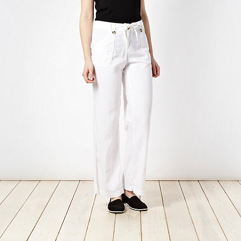 The Collection - White stitched pocket linen blend trousers