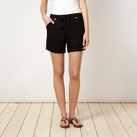 The Collection - Black cross hatch linen blend shorts