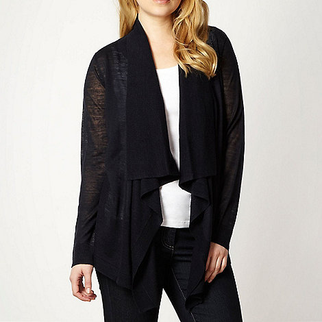 The Collection - Navy linen blend drape front cardigan