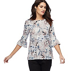 The Collection - Grey floral print fluted sleeve top