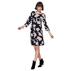 The Collection - Navy floral print knee length dress