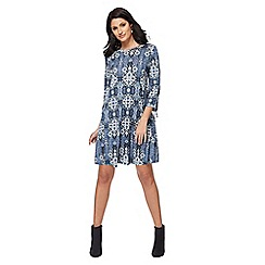 The Collection - Blue tile print jersey mini dress