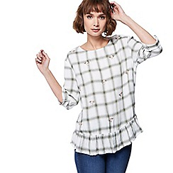 The Collection - Green checked embroidered top