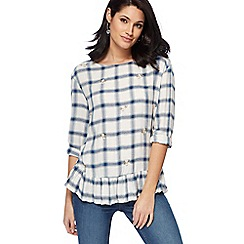 The Collection - Blue checked floral embroidered ruffle hem top