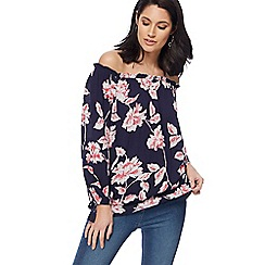 The Collection - Navy floral print gypsy top
