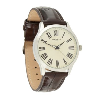 Infinite Men´s brown leather analogue watch