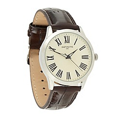 Infinite - Men's brown leather analogue watch