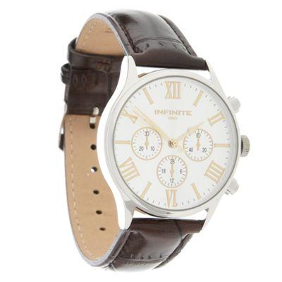 Infinite Men´s brown leather mock multi-dial watch