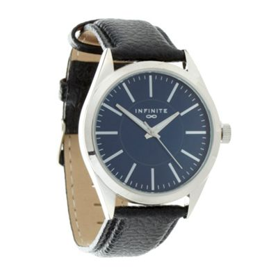 Infinite Men´s black round dial leather strap watch