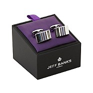 Jeff Banks - Silver multi-striped cufflinks in a gift box