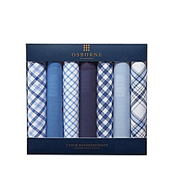 Osborne - Pack of seven blue and white patterned handkerchiefs