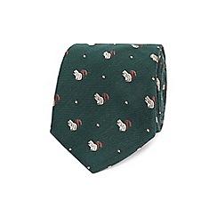 Hammond & Co. by Patrick Grant - Dark green squirrel textured tie