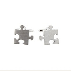 Thomas Nash - Silver jigsaw cufflinks