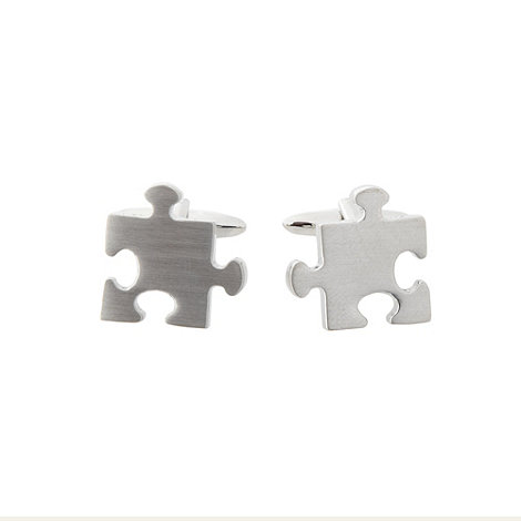 Thomas Nash - Silver jigsaw cufflinks