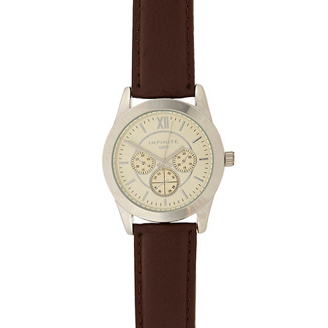 Infinite - Men+s brown mock multi dial watch