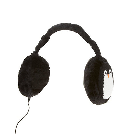 Skinnydip - Black penguin faux fur earmuff headphones