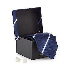 The Collection - Navy striped silk tie and cufflinks set
